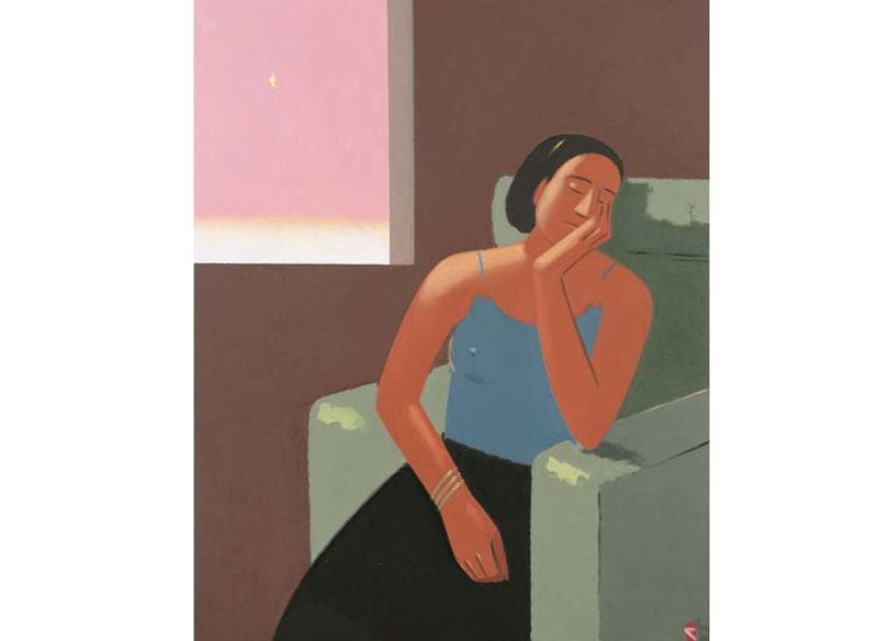 Andrés Rábago - MUJER DORMIDA Óleo sobre lienzo. - 146 x 114 cm.