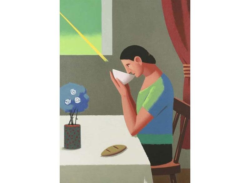 Andrés Rábago - Desayuno Óleo sobre lienzo. - 116 x 89 cm.