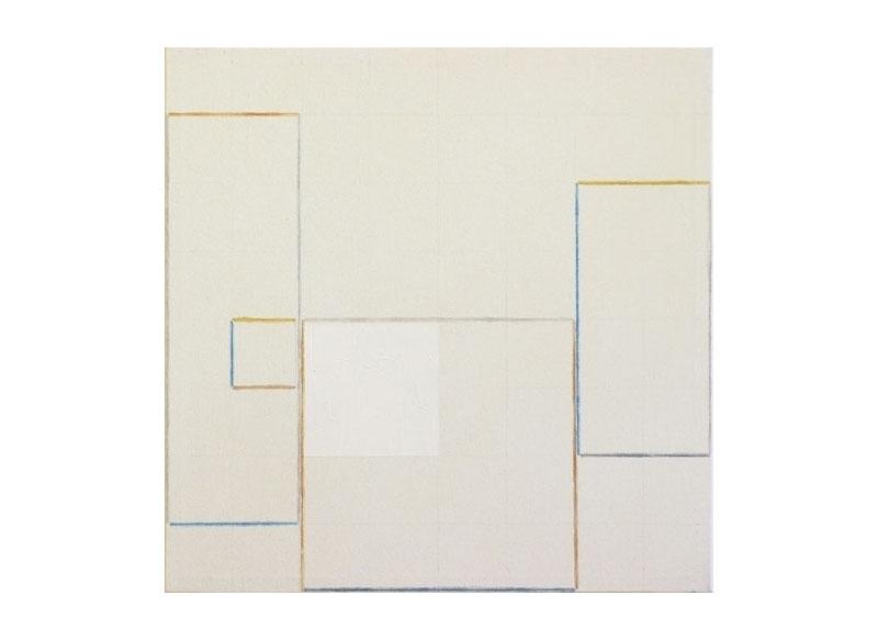 César Paternosto Tres cuadrados aproximados 2005 Lápices de acuarela, polvo de mármol sobre lienzo