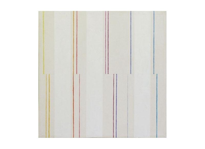 César Paternosto Variación rítmica sobre el espectro (¡Salud, viejo Newton!) 2005 Lápices de acuarela, gesso, polvo de mármol sobre lienzo