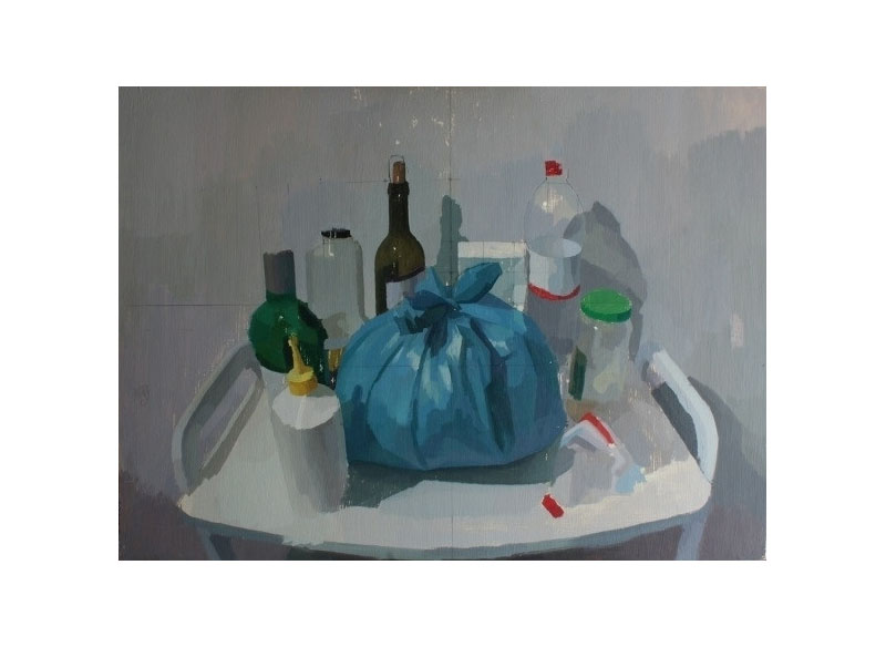 David Serrano Objetos de reciclaje óleo sobre tabla