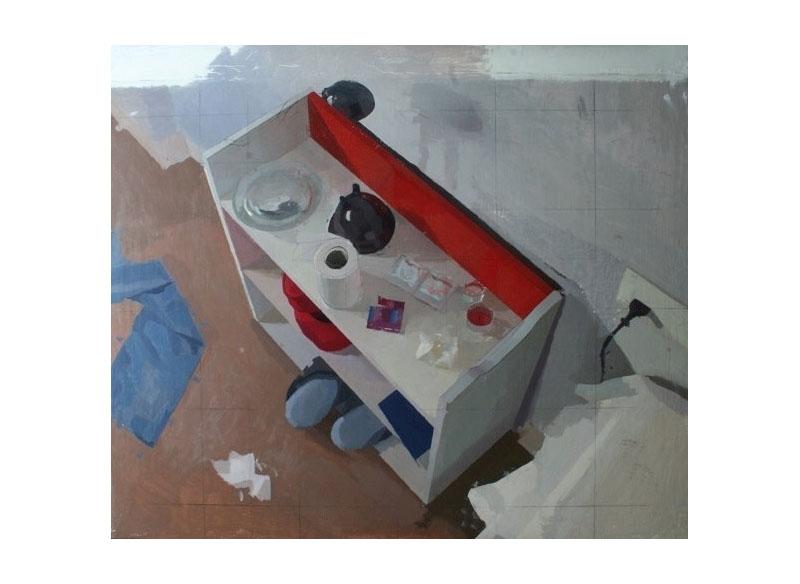 David Serrano Mesa de noche óleo sobre tabla