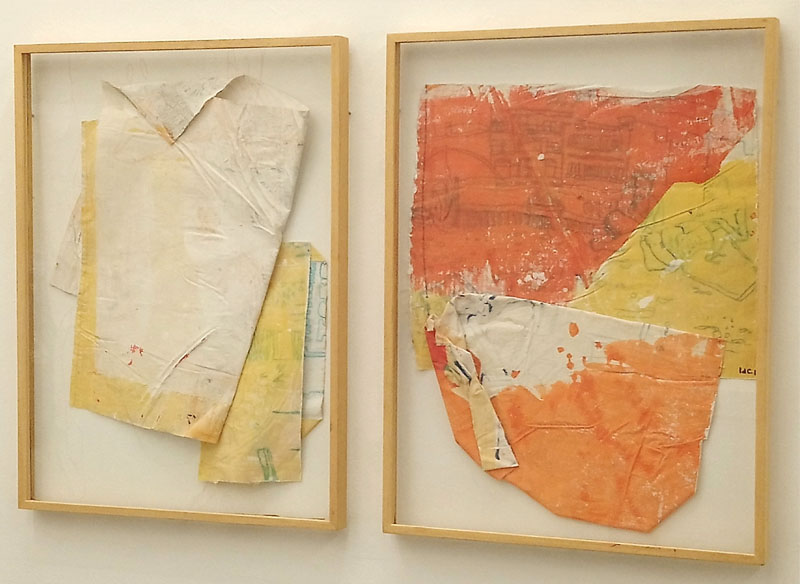 IDAIRA DEL CASTILLO - Collage I, II. Técnica mixta sobre lienzo. 82x62 cm.