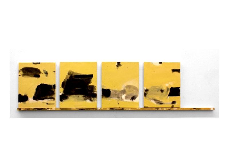 Jesús Matheus Buenos Aires 37 (Notebook series) 2017 Acrílico, óleo/lienzo (políptico 4 piezas), madera intervenida. - 38,5x160x3,5 cm