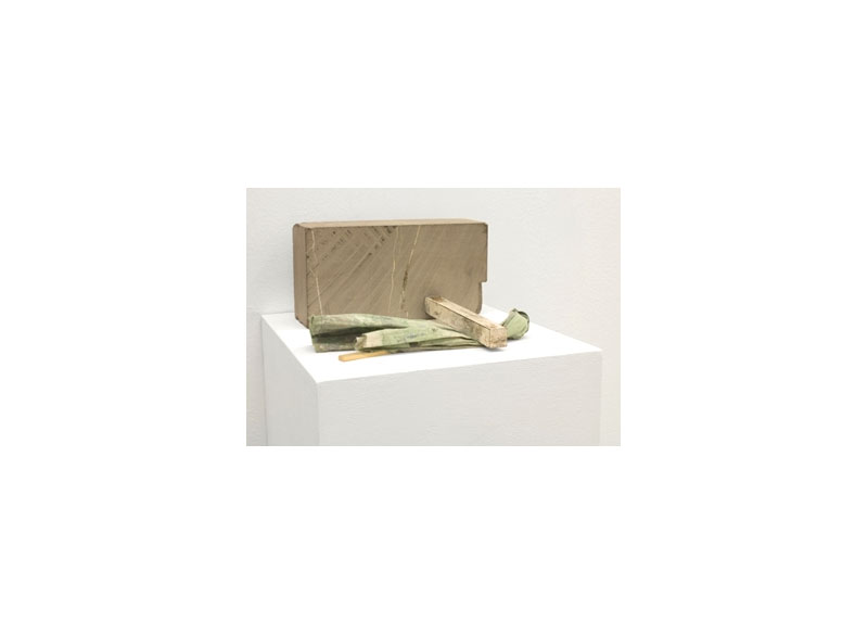 Jesús Matheus Cantos/Tectónico III 2017 Piedra, metal, madera y tela intervenida. - 12x24x28 cm.