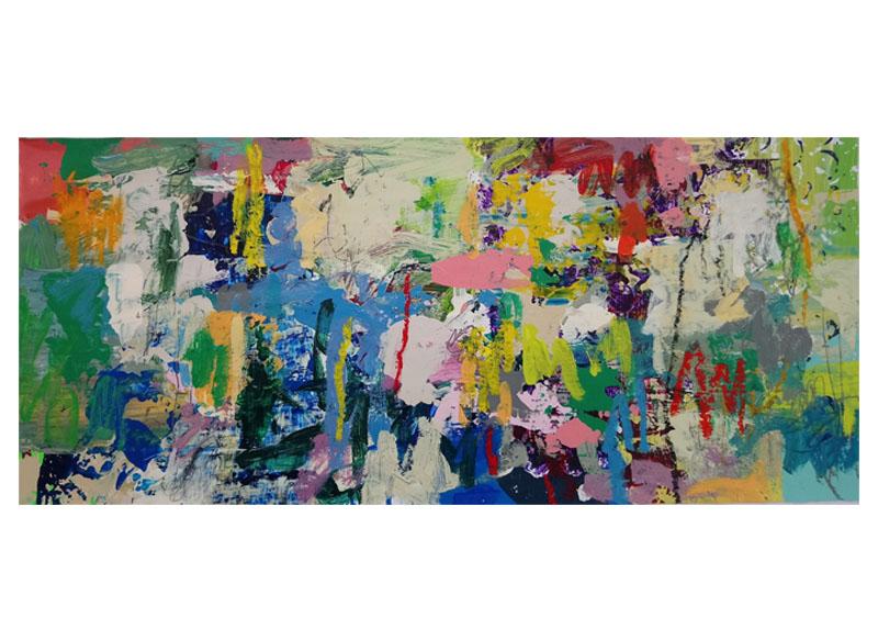 Juan Gopar - (ANTROPOCENO I) - 2018.  Acrílico y técnica mixta sobre tela y madera.  240x450x06 cm (tríptico)