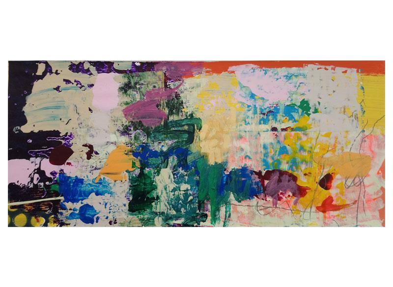 Juan Gopar - (ANTROPOCENO II) -2018.  Acrílico y técnica mixta sobre tela y madera.  240x450x06 cm (tríptico)