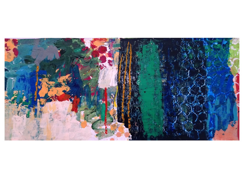 Juan Gopar - Serie (ANTROPOCENIO) - 2017. Acrílico sobre papel. 35x65 cm
