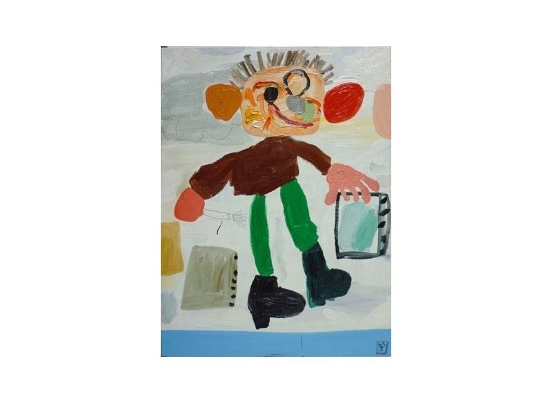 Matías Sánchez Hockney pintando una piscina 2009 Óleo sobre lino