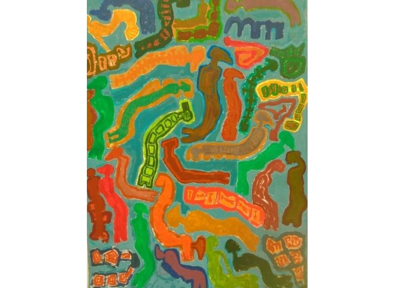 Paco Sánchez Sin título 2014 Acrílico sobre papel.- 120 x 89 cm..