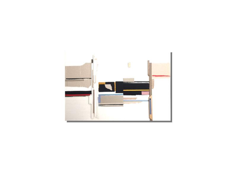 Sara Velázquez Título: sin título 2018.  Técnica: acrílico, madera y técnica mixta sobre lienzo.  Medidas: 120x150 cm.