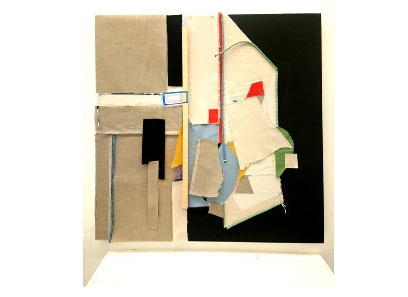 Sara Velázquez Título: sin título 2018.  Técnica: acrílico, collage y técnica mixta sobre lienzo.  Medidas: 90x90 cm.