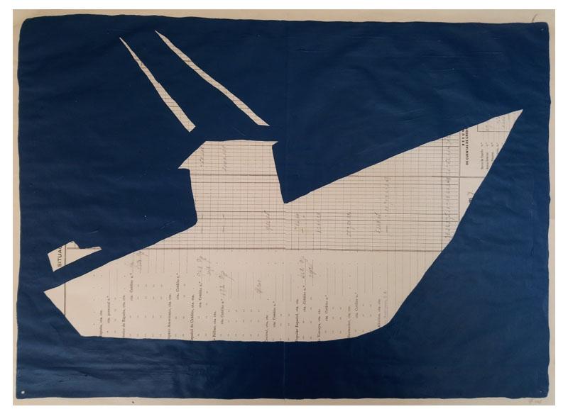 CAYETANA H. CUYÁS - Barco azul marino -, 2018 Acrílico papel 45x56 cm. Precio: 375.€