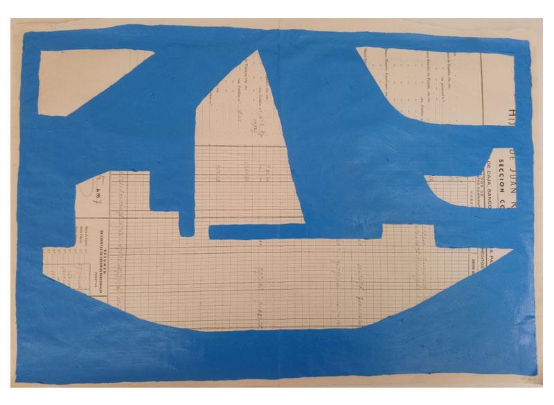 CAYETANA H. CUYÁS - Barco azul -, 2018 Acrílico papel 45x56 cm. Precio: 375.€