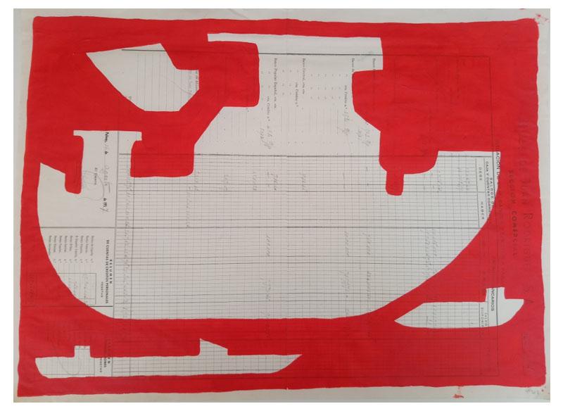 CAYETANA H. CUYÁS - Barco rojo -, 2018 Acrílico papel 45x56 cm. Precio: 375.€