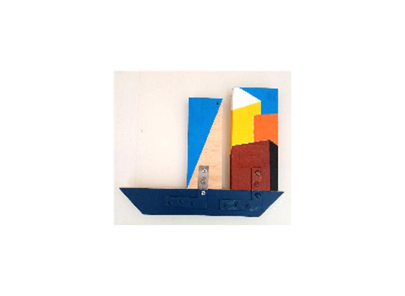CAYETANA H. CUYÁS (Navegando con Luis Palmero) - A veces velero, a veces carguero, pero siempre en el candelero -2018 Acrílico y técnica mixta sobre madera 25x31x03 cm. Precio: 350.€
