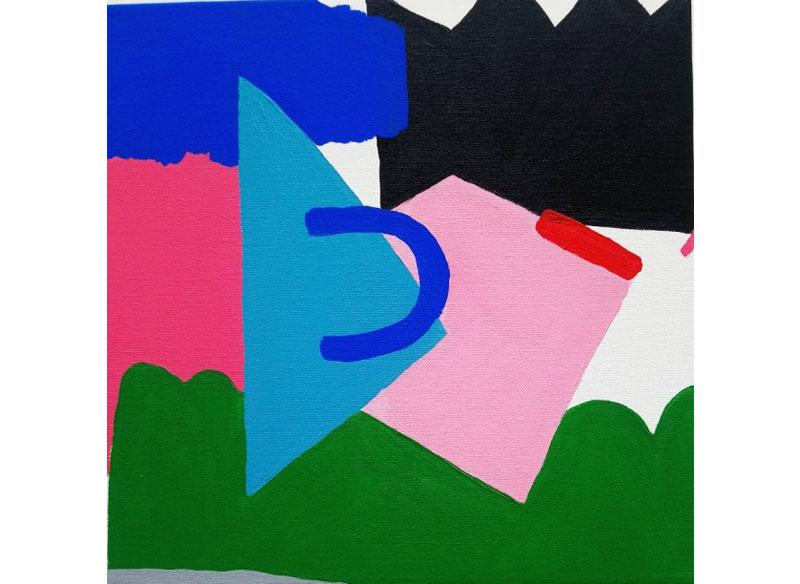 Lia Ateca - (Festa en la arena). 2018  Acrílico sobre madera 30x30 cm. Precio: 300.- €